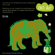 Birthday elephant - green